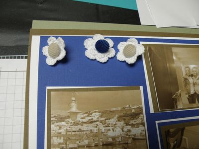 Doing a lot of matting of the photos and buttons in the flowers