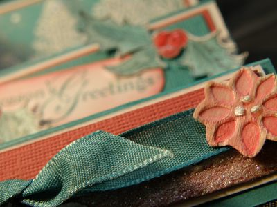 Up close of the wood sheet flowers and ribbon