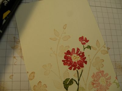 A pretty flower with Watercolor trio stamp