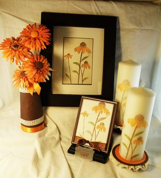 Frame flowers candles card